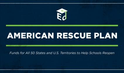 "US department of education logo followed by the text ""American Rescue Plan"""