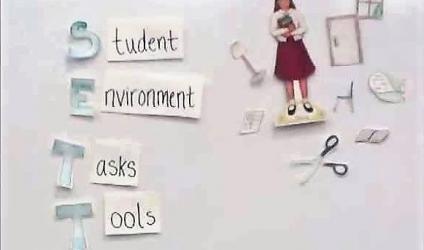 "Image of a whiteboard showing ""Student,"" ""Environment,"" ""Tasks,"" and ""Tools"" (SETT)"