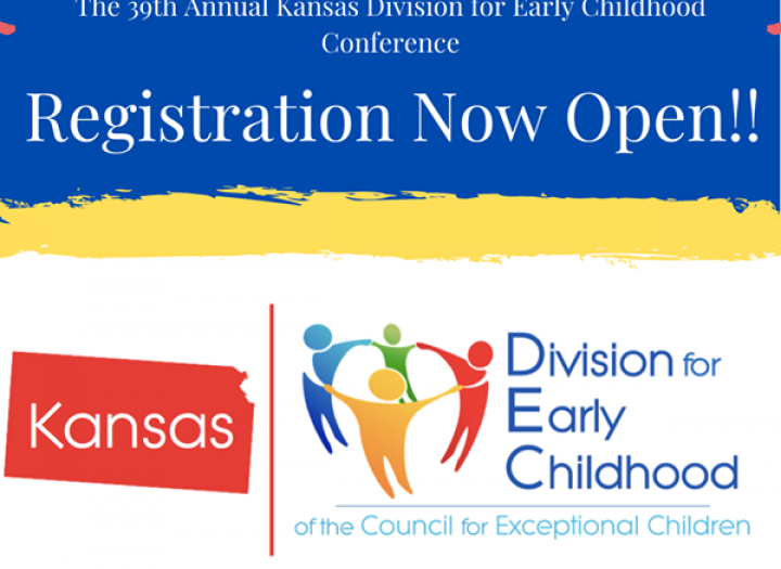 "Graphic saying ""Registration Now Open!!"" with Kansas DEC's logo"