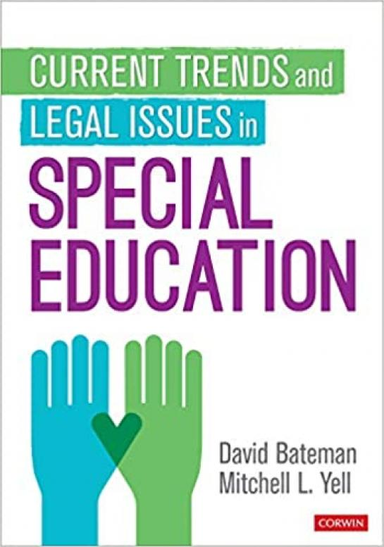 "Cover of book featuring two illustrated hands held up, ""Current Trends and Legal Issues in Special Education"""