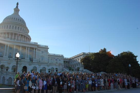 People gathered outside of the US Capitol building