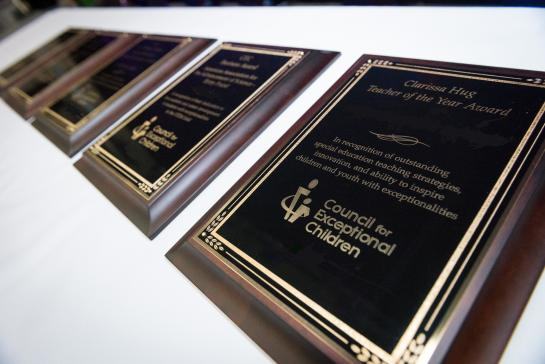 Line-up of CEC Professional Award plaques