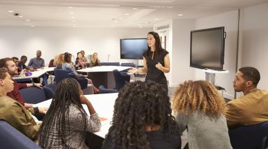 adult woman speaking before other adults in boardroom or classroom