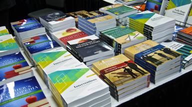 Books for sale on a table