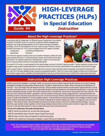 HLPs in Special Education Instruction Laminated Guide (#4)
