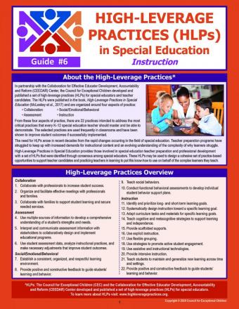 HLPS in Special Education Instruction Laminated Guide (#6)