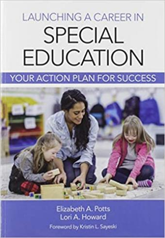 Book cover featuring teacher playing blocks with 2 young students